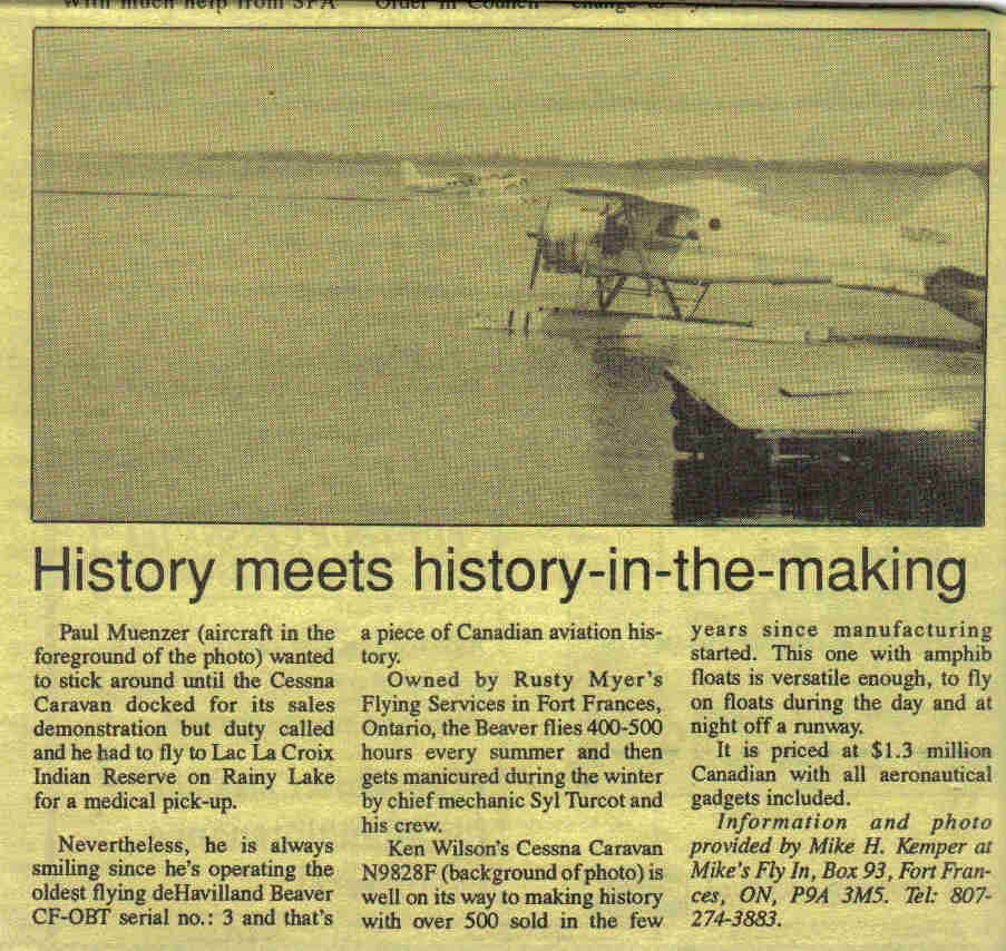 History in the making, Canadian owners and pilots association 1992